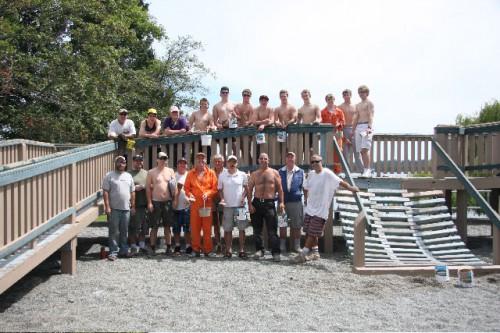 Transfer Beach playground painting team